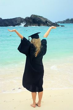 cap and gown beach graduation